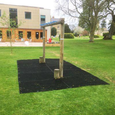 Rubber grass mats beneath equipment