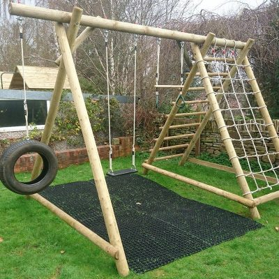 rubber mats used beneath a swing set
