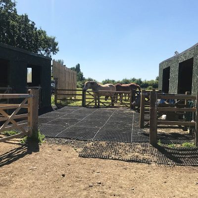 rubber equestrian mats on hardcore