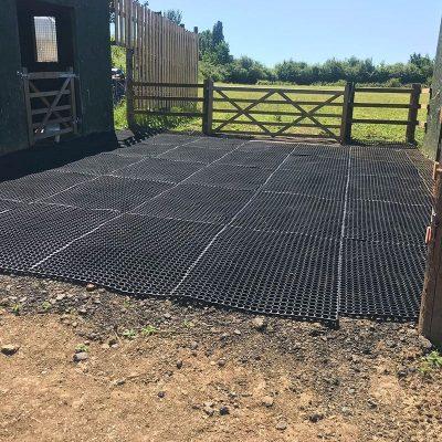 rubber grass mats in a paddock